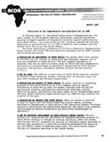 Provisions of the Comprehensive Anti-Apartheid Act of 1988