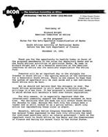 Testimony of Richard Knight on the proposed Rules for the Anti-Apartheid Classification of Banks