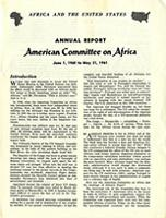 Annual report: American Committee on Africa, June 1, 1960 to May 31, 1961