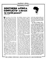 Southern Africa Conflicts - a threat to world peace?
