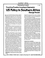 Preaching Freedom, Investing in Oppression: US Policy in Southern Africa