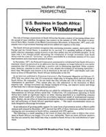 U.S. Business in South Africa: Voices For Withdrawal