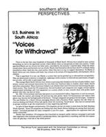 "U.S. Business in South Africa: ""Voices for Withdrawal"""