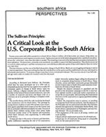 Sullivan Principles: A Critical Look at the U.S. Corporate Role in South Africa