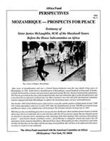 Mozambique - Prospects for Peace - Testimony of Sister Janice McLaughlin, M.M. of the Maryknoll Sisters Before the House Subcommittee on Africa