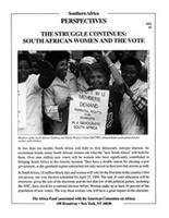 Struggle Continues: South African Women and the Vote