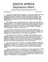 South Africa Negotiations Watch, Briefing Paper No. 2