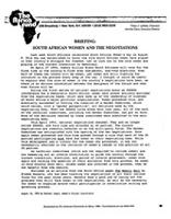 Briefing: South African Women and the Negotiations