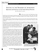 Voting in the Shadow of Apartheid - Questions and Answers on the South African Election