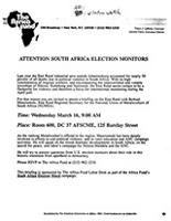 Attention South Africa Election Monitors