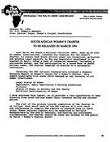 South African Women's Charter to be released by March 2004