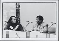 Part 02, South Africans in the Netherlands: Grace Cele testifying at the Hearing on abductions by the South African regime, Amsterdam, December 1988.