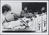 Part 02, South Africans in the Netherlands: Khumbuzile Maphumulo testifying at the Hearing on abductions by the South African regime, Amsterdam, December 1988.