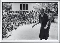 Part 06, Refugees and displaced people, in and around Mozambique: Gra‡a Machel addressing Mozambican children in Tongogara refugee camp, Zimbabwe, April 1990.