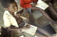 Part 06, Refugees and displaced people, in and around Mozambique: School in Nyamithutu camp for Mozambican refugees, Malawi, April 1990 [3].
