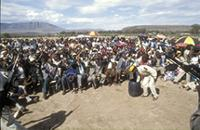 Part 05, People listening to Chris Hani addressing an ANC rally in Lady Frere, Transkei, October 1990.