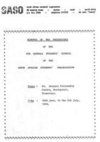 Minutes of the proceedings of the 6th General Students Council of the South African Students organization