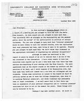 [Letter from Terence Ranger to Principal (University of Rhodesia and Nyasaland)]