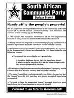 South African Communist Party, Duduza Branch: Hands off the people's property!