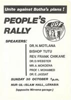 People's rally: unite against Botha's plans!