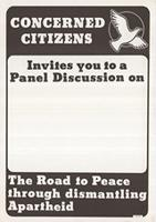 Concerned Citizens Invites you to Panel Discussion on The Road to Peace through Dismantling Apartheid