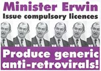 Minister Erwin: issue compulsory licences: produce generic anti-retrovirals!