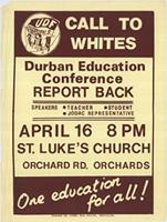 Call to whites: Durban Education Conference report back