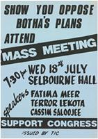 Show you oppose Botha's plans attend mass meeting
