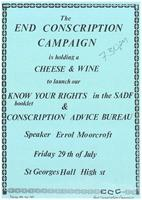 The End Conscription Campaign is holding a cheese and wine