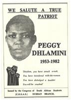 We salute a true patriot Peggy Dhlamini 1953-1982