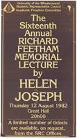 The sixteenth annual Richard Feetham Memorial Lecture by Helen Joseph