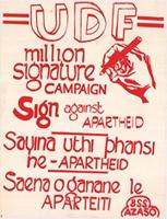 UDF: million signature campaign sign against apartheid