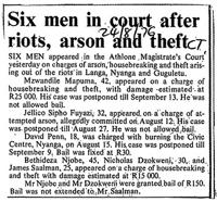 Six men in court after riots, arson and theft