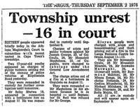 Township unrest --- 16 in court
