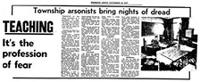 Township arsonists bring nights of dread