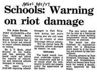 Schools: warning on riot damage