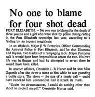 No one to blame for four shot dead