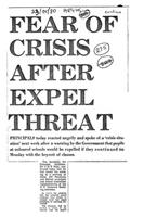 Fear of crisis after expel threat