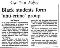 Black students form 'anti-crime' group