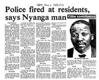 Police fired at residents, says Nyanga man