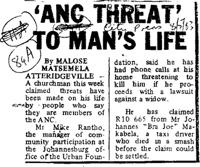 'ANC threat' to man's life