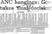 ANC hangings: Gov takes 'final decision'