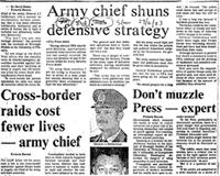 Army chief shuns defensive strategy