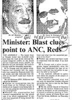 Minister: Blast clues point to ANC, Reds