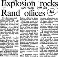 Explosion rocks Rand offices
