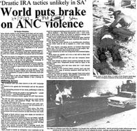 'Drastic IRA tactics unlikely in SA:' World puts brake on ANC violence