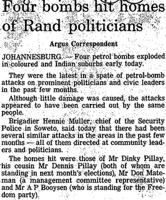 Four bombs hit homes of Rand politicians
