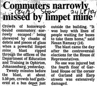 Commuters narrowly missed by limpet mine