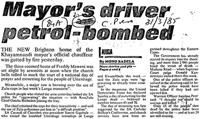 Mayor's driver petrol-bombed