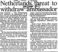 Netherlands threat to withdraw ambasador